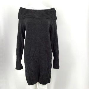 BCBGMAXAZRIA Sweater Dress L Lambs Wool Charcoal